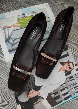 Туфли коричневые итальянские винтаж замша на низком каблуке donna carolina 40 39