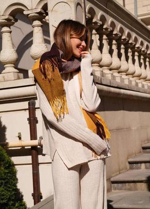 Кашеміровий шарф в клітинку шоколадний / жовтий