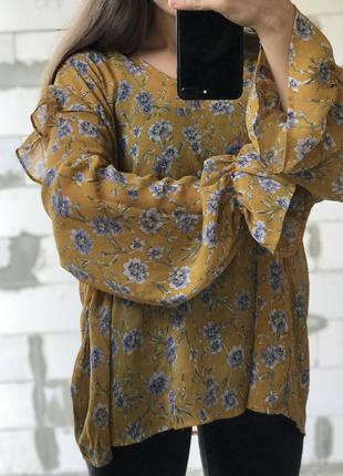 Блуза в цветочек батал шикарная