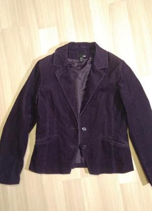 Фіолетовий вельветовий жакет піджак h&m пиджак вельветовый фиолетовый