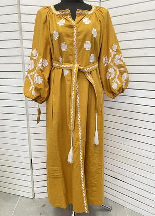 Шикарна лляна сукня з вишивкою вишиванка бохо платье лён с вышивкой вышиванка