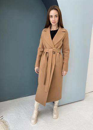 Шикарное брендовое кашемировое женское макси пальто с поясом, д 365 турция кэмел
