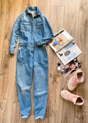 Плотний актуальний джинсовий комбез з якісного плотного деніму