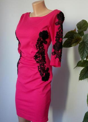Вечернее  малиновое платье миди 44 46 размер нарядное футляр новое вышиванка