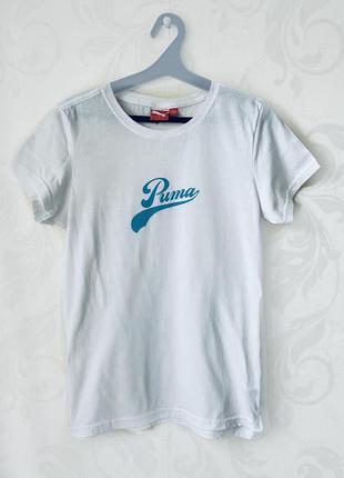Белая хлопковая футболка puma