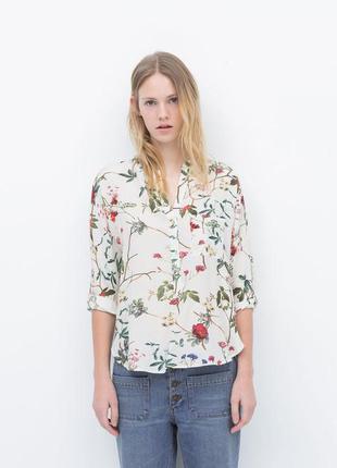 Штапельная рубашка блузка из натуральной ткани  в цветочный принт от zara