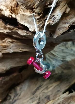 Шарм пандора серебро 925 проба пломба бирка ale  розовая эмаль сердце фитнес гантеля любовь к спорту серце