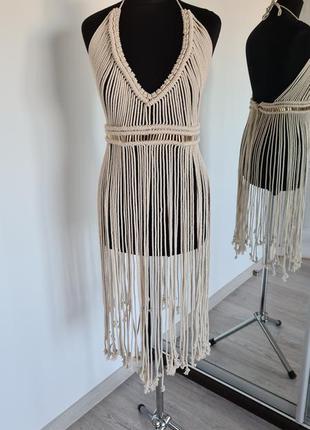 Платье макраме, туника, накидка на купальник