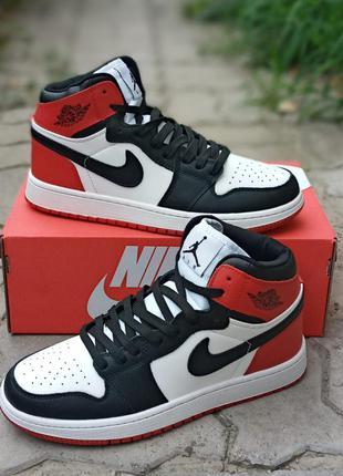Мужские кроссовки nike air jordan кожаные, черные, белые, хайтопы