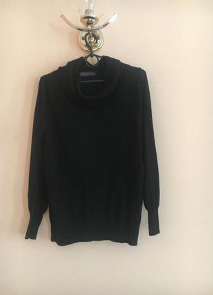 Батал большой размер чёрный стильный свитер свитерок базовый кофта гольф гольфик