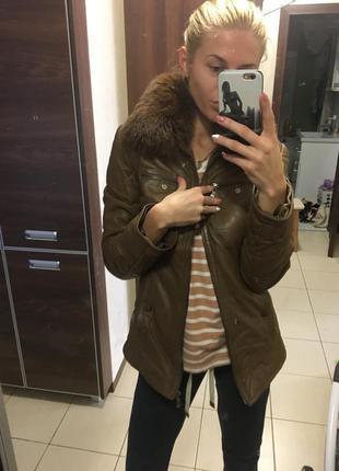 Куртка утепленная перчаточная кожа с мехом канадского песца