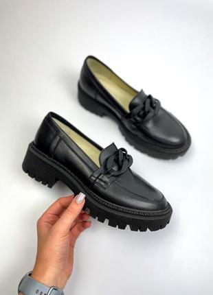 Лоферы натуральная кожа чёрные туфли