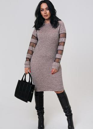 Женское тёплое платье ангора + сетка батал 46 по 60
