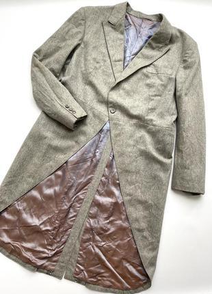 Шикарный винтажный длинный пиджак фрак пальто винтаж шерсть батал большой размер