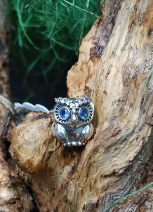 Шарм пандора серебро 925 проба цирконий пломба бирка голубой камень сова мудрая совушка