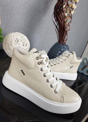 Кожаные ботинки адель, деми, зима