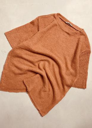 Свитер футболка вязаная в рубчик zara