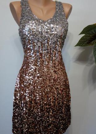 Короткое платье пайетками золотое  винтажное  48 50 размер новое в стиле великий гэтсби metme