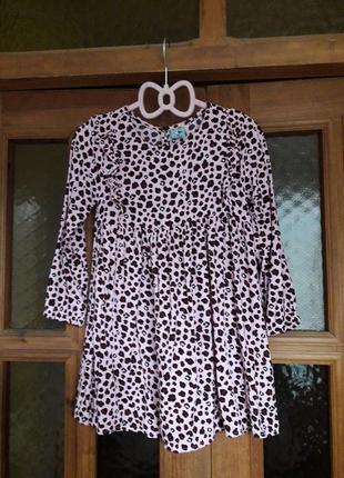 Красивое вискозное платье сукня на девочку 4-5 лет вискоза розовый леопард kiki&koko