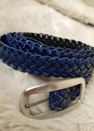Синий плетеный пояс поясок ремешок новый