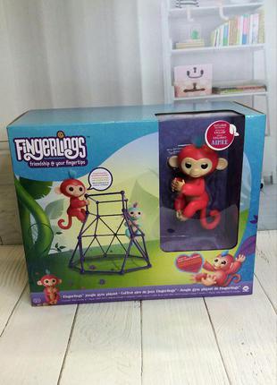 Интерактивная обезьянка wowwee fingerlings с площадкой jungle gym playset