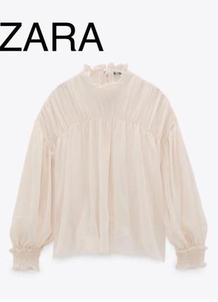 Тілесна прозора блуза zara
