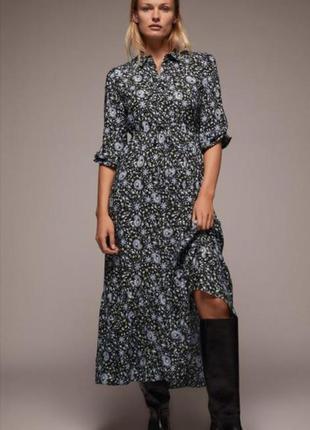 Платье из натуральной ткани в цветочный принт zara