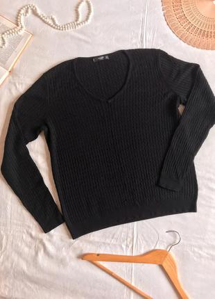 Классический чёрный пуловер с мелкими косами из натуральной вискозы (размер