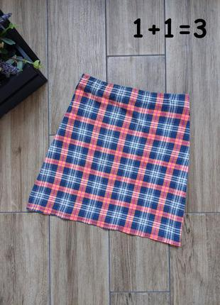 Atm стильная мини юбка s летняя яркая в клетку на талию короткая неон