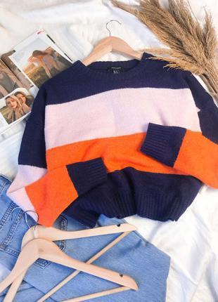 Укорочённый разноцветный свитер в полоску оверсайз