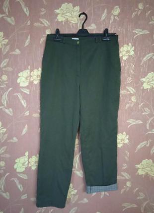 Темно серые хлопковые утепленные штаны женские, s