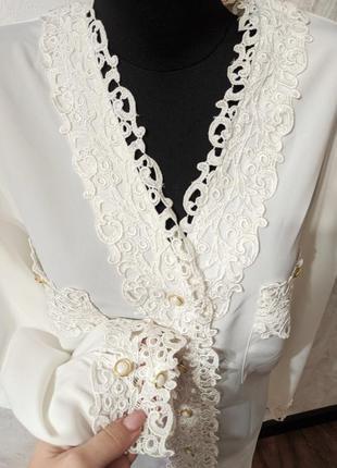 Винтажная белая кружевная блуза рубашка your sixth sense