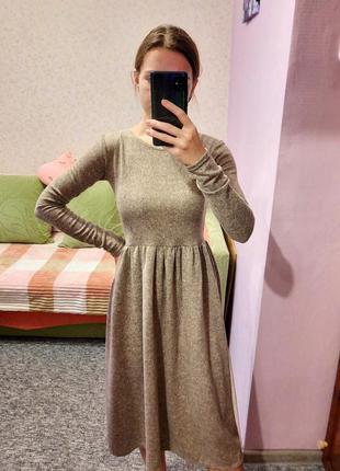 Платье миди из ангоры тёплое