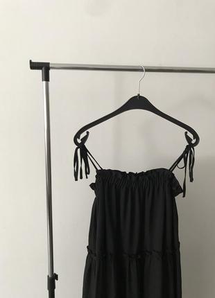 Чёрное свободное платье boohoo