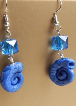 Серьги синие ракушки из полимерной глины. ручная работа