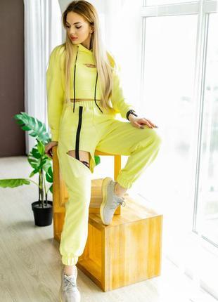 Желтый лимонный костюм loop джогеры топ укороченный худи