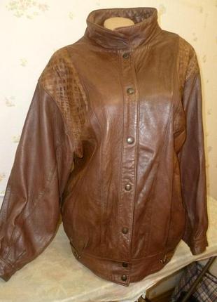 """Винтажная кожаная куртка курточка натуральная свободная""""летучая мышь"""",оверсайз"""