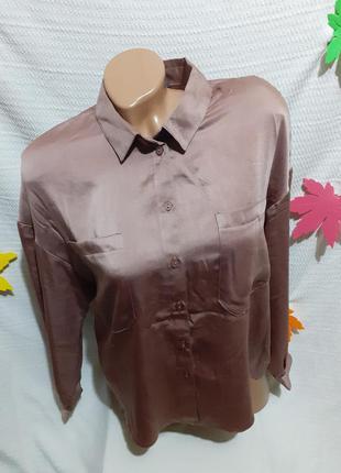 Рубашка атласная атлас пижама пижамная мокко блестящая блестит
