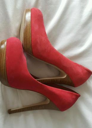 Распродажа туфли asos замшевые ярко-вишневого цвета на каблуке и платформе