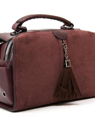 Молодежная женская сумка-рюкзак фасад из искусственной замши