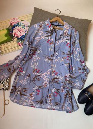 Рубашка m&s лиловая сереневая вискоза осенняя принт листья
