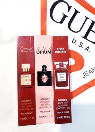 💎популярный набор стойких ароматов 3×20мл духи, парфюм, баккара, блек опиум, лост черри, black opium, baccarat rouge, lost cherry,тестер