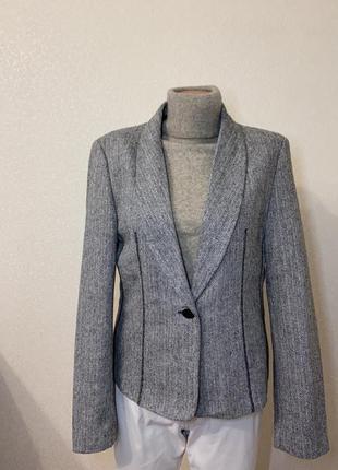 Шерстяной пиджак жакет в елочку шерсть massimo dutti zara h&m