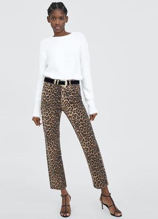 Леопардовые демисезонные прямые джинсы zara