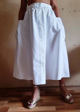 Новая белоснежная юбка на пуговичках из 100% хлопка