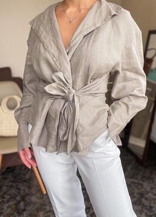 Льняная рубашка на запах zara