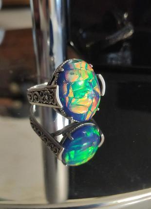 Кольцо с опалом, серебряное кольцо 18р, перстень, опал