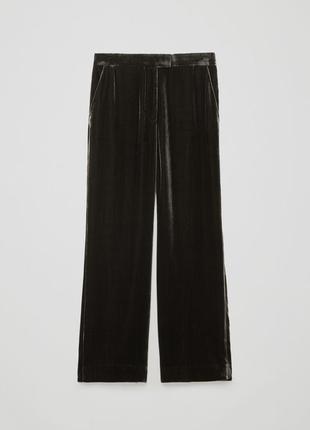 Широкие велюровые брюки