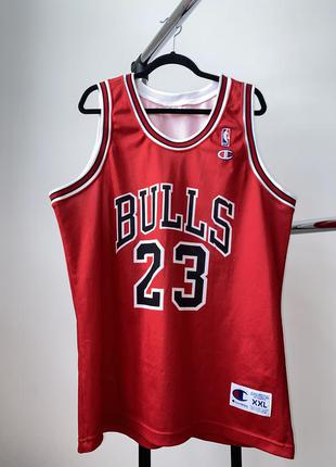 Баскетбольная винтажная майка джерси champion michael jordan bulls #23