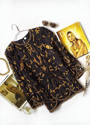 Блуза черная шелк оверсайз винтаж цветочный принт бисер вышивка шовк